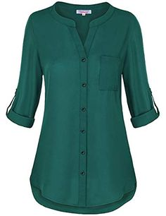 Find Misswor Womens Roll Sleeve Button Down Shirt online. Shop the latest collection of Misswor Womens Roll Sleeve Button Down Shirt from the popular stores - all in one Short Kurti Designs, Kurta Designs Women, Dress Neck Designs, Blouse Designs, Kurta Neck Design, How To Roll Sleeves, Chiffon Tops, Chiffon Blouses, Chiffon Shirt
