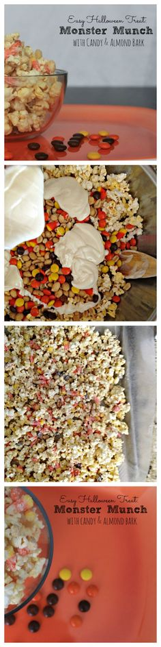 Easy Halloween Treat - Monster Munch Looking for an easy Halloween treat to whip up for the kids? This Halloween popcorn recipe is a crowd pleaser and slightly addicting. Halloween Popcorn, Halloween Treats For Kids, Halloween Goodies, Halloween Desserts, Easy Halloween, Halloween Party, Halloween Costumes, Spooky Treats, Fall Desserts