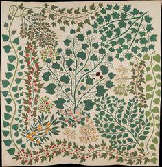 Old Quilts, Antique Quilts, Vintage Quilts, Illinois, Medallion Quilt, American Quilt, Green Quilt, Motif Floral, Illustrations