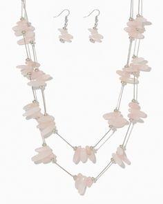 charming charlie | Glassy Rose Quartz Menagerie Necklace Set | UPC: 450900436155 #charmingcharlie