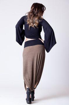 Brown Snake Print Long Harem Skirt Pants Rib by MichalRomem, $92.00