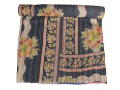 VINTAGE KANTHA QUILT COTTON BEDSPREAD THROW REVESIBLE BLANKET ETHINIC 0001 #Handmade #Transitional
