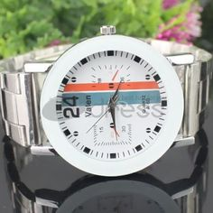 White dial vertical stripes pattern steel strip watch