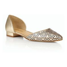 Talbots Women's Edison Vachetta Leather Perforated D'Orsay Flats :... ($119) ❤ liked on Polyvore featuring shoes, flats, summer flats, d'orsay flats, slip-on shoes, pointed-toe flats and metallic pointed toe flats