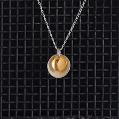 Large Enamel Pendant in Ivory & Gold, Honeybourne Jewellery Necklaces
