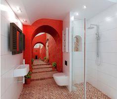 łazienka z fototapetą - Łazienka - Styl Nowoczesny - Archomega Biuro Architektoniczne