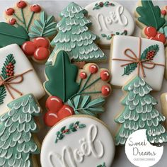 Here is another set that I will be offering this year for Christmas. I am hoping to have everything ready for you to pre-order by this… Noel Christmas, Christmas Goodies, Christmas Desserts, Christmas Treats, Fancy Cookies, Iced Cookies, Royal Icing Cookies, Christmas Sugar Cookies, Holiday Cookies
