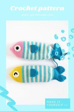 Crochet amigurumi fish pattern   Garnknuten   This cute and easy amigurumi fish is called Steve! Here you'll find the downloadable PDF crochet pattern! #crochet #pattern #amigurumi #fish #pouch Crochet Food, Crochet Hats, Organic Cotton Yarn, Fish Patterns, Crochet Hook Sizes, Crochet For Beginners, Crochet Patterns Amigurumi, Stitch Markers, Stuffed Toys Patterns