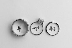 cute wedding rings photo. Mr - his ring and - her engagement ring Mrs - her wedding ring!