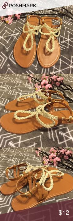 Sparkly Bohemian Sandals These sandals are super cute! With neutral colors, they match with just about anything. Features gold sparkles & a cognac color platform. Excellent condition, just a tiny scratch as seen above. Make an offer before someone else does! ✨ (Not Chinese Laundry)    BUY 3 OR MORE ITEMS FOR 15% OFF! Chinese Laundry Shoes Sandals