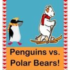 """PENGUINS VS POLAR BEARS!"" - WORKSHEET, GAME, AND BAR GRAPH.  Lots to do here!  Your kids will color, cut, sing a funny song, play an active group game, and build a giant bar graph made out of stacks of colored fish!  Team Penguin and Team Polar Bear will both have fun, because ""they both like fishies in their mouths!""  Templates for simple worksheets and for game play are provided -- also easy song notes.  Who says learning only happens when you're sitting?  (13 pages) Joyful Noises Express…"