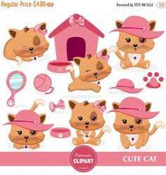 80% OFF SALE Kitty clipart set, Kitten clipart, Cat clipart, Kitty birthday clipart, Planner stickers, Commercial use clipart - CA417 by PremiumClipart on Etsy