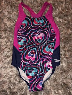 68347cda20 Details about Girls Speedo Multicolor Chevron One Piece Swimsuit Size 7  Graphic Bathing Suit
