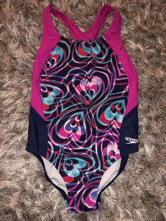 00d8c8d745dd1 Details about Girls Speedo Multicolor Chevron One Piece Swimsuit Size 7  Graphic Bathing Suit