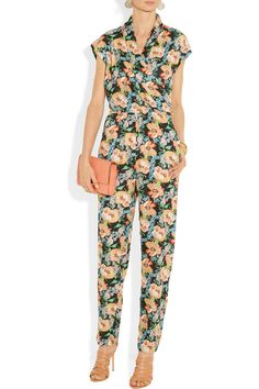 One or tow in a dark colour. Dress up and dress downTucker|Floral-print silk-georgette jumpsuit|NET-A-PORTER.COM