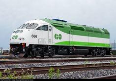 Net Photo: GO 666 GO Transit (Greater Toronto Transit Authority) MPI at Vaughan, Ontario, Canada by Michael Da Costa Diesel Locomotive, Steam Locomotive, Go Transit, Commuter Train, Ferrari Racing, Railroad Pictures, Milwaukee Road, Rail Car, Train Pictures