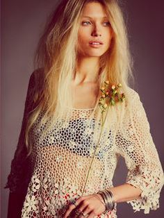 Crocheted Lace Shirt - great swim suit cover up!