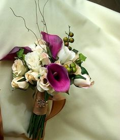 couture wedding flowers purple calla bridal bouquets