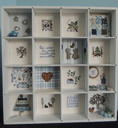 casier_casa_Delphine_2014_2015 Shadow Box Memory, Cross Stitch Finishing, Altered Boxes, Cross Stitch Samplers, Sewing Notions, Display Boxes, Paper Crafts, Wood Crafts, Embroidery