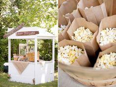 wedding popcorn station — Wedding Ideas, Wedding Trends, and Wedding Galleries Popcorn Station, Popcorn Stand, Popcorn Bar, Gourmet Popcorn, Farm Wedding, Chic Wedding, Wedding Blog, Rustic Wedding, Wedding Ideas