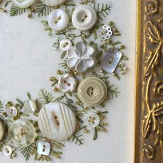 Antique Button Wreath with hand embroidery by warnANDweathered on Etsy