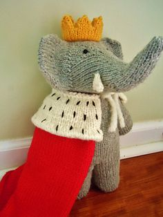 Babar knitting pattern-  with royal outfit and green suit with the derby hat.