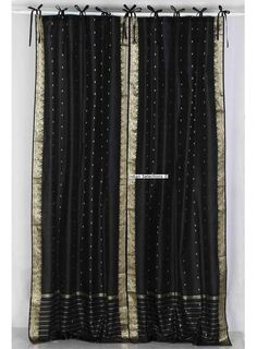 Black Tie Top Sheer Sari Curtain / Drape / Panel - Pair