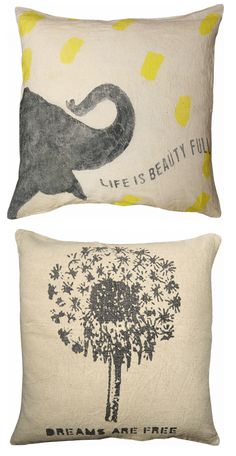 """""""Life is Beauty Full"""" and """"Dreams are Free"""" pillows #quote #inspirational #elephant #dandelion #home #pillow"""