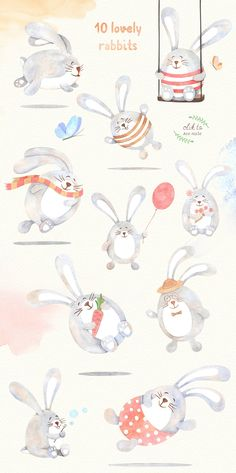 Watercolor Rabbits Collection by HypeHype on @creativemarket
