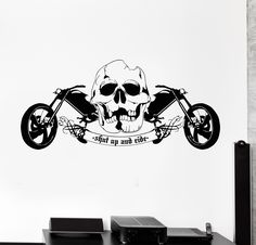 Vinyl Wall Decal Cool Skull Motorcycle Speed Biker Driver Garage Cruiser Sticker (658ig)