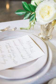 Handmade Stoneware DinnerwareJill Zeidler Ceramic Art JillZeidler.com Grey calligraphy wedding menu | Mandy Forlenza Sticos and Maria Cascio Photography | see more on: http://burnettsboards.com/2016/02/airy-paper-factory-hotel-bridals/