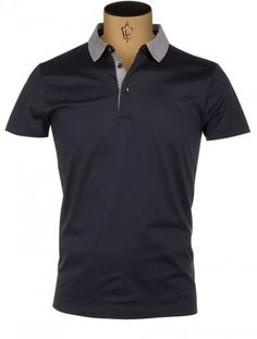 ea0267790332 Hugo Boss Black Slim Fit Polo Shirt in Navy with Contast Collar Polo Shirt  Design,