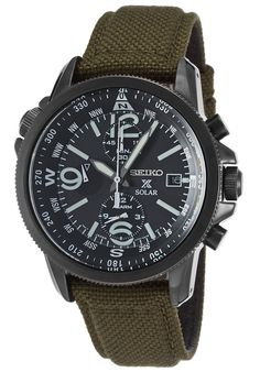 Seiko SSC295P1 Watches,Men's Prospex Solar Chrono Dual Time Army Green Nylon Black Dial, Sport Seiko Solar Watches