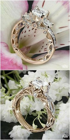 vintage style diamond engagement ring with princess cut diamond