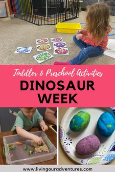 A dinosaur theme is a sure fire way to capture little one's interest and curiosity. Just talking about dinosaurs with toddlers is so much fun! Our week was filled with names to learn, questions to answer and hands on activities to try. Toddler Gross Motor Activities, Fun Activities For Toddlers, Phonics Activities, Interactive Activities, Hands On Activities, Kindergarten Activities, Toddler Preschool, Toddler Crafts, Book Activities