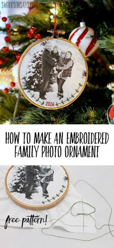 Personalized DIY Christmas ornaments are so much fun to make, see how easy it is to stitch a flourish and the date on your family photo! A simple tutorial for how to make an embroidered family photo ornament for Christmas or wall decor. #diychristmas #diychristmasornament #embroidery