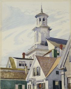 """Edward Hopper (American): Watercolor Painting, """"Methodist Church Tower"""" (1930) [Wadsworth Atheneum Museum of Art, Conn.]"""
