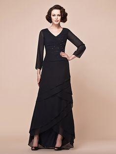 A-line Plus Sizes Mother of the Bride Dress - Dark Navy Asymmetrical Long Sleeve Chiffon   LightInTheBox