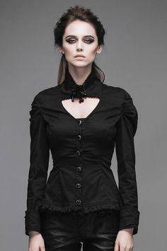 Nouveau produit : Chemise noire aristocrate col avec rose et perles gothique élégant Vous aimez ? / New product do you like ? Prix: 49.90 #new #nouveau #japanattitude #chemises #gothique #gothic #elegant #aristocrat #victorien #victorian
