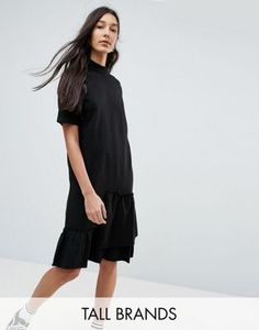 7b18bb44dffa Noisy May Tall Asymmetric Sweat Dress With Ruffle Trim