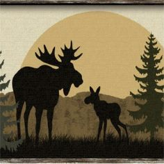 RUSTIC MOOSE SILHOUETTE PINE TREES COASTERS SET OF 4 FABRIC TOP / RUBBER BACKED #Handmade
