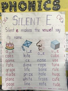 CVCe anchor chart inspiration is here! I've gathered up all of my favorite free anchor charts for teaching CVCe as silent e, magic e, bossy e, and more! Phonics Rules, Phonics Lessons, Jolly Phonics, Teaching Phonics, Preschool Learning, Teaching Kids, Phonics Chart, Spelling Rules, Preschool Classroom