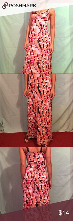 Pink maxi dress New directions, petit small. Tie in the back, soft and comfortable! Worn three times, great condition! Bundle it up :) new directions Dresses Maxi