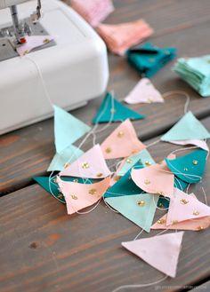 A DIY Glittered Fabric Garland