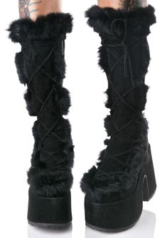 Demonia Vigilance Platform Boots ...when yer enemies appear, yer already 10 steps ahead, babe. These sikk boots feature a luxxxurious black vegan suede construction, chunky covered platform 'N heel, full length lace-ups, plush fluffy black trim around the leg opening and down the front, and side zip closures.