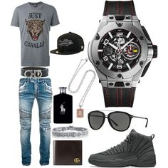 A menswear look from August 2017 featuring mens patterned shirts, balmain men's jeans and hublot mens watches. Browse and shop related looks. Teen Swag Outfits, Dope Outfits For Guys, Jordan Outfits, Stylish Mens Outfits, Casual Outfits, Girl Outfits, Teen Boy Fashion, Tomboy Fashion, Look Fashion