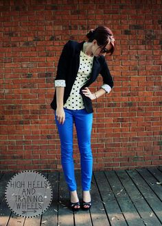 Polka Dots and cobalt blue skinny jeans