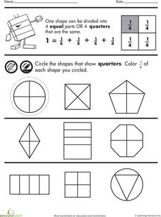 math worksheet : practice test simple shapes  fractions  fractions worksheets  : Fractions Quarters Worksheets