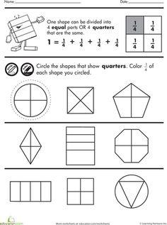 math worksheet : practice test simple shapes  fractions  fractions worksheets  : Fractions Quarters Worksheets