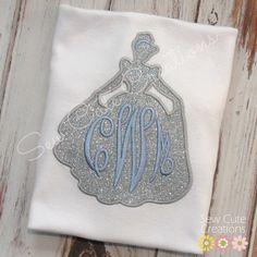 Personalized Monogram Cinderella silhouette Inspired Princess shirt Girls…